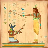 stock photo of wall painting  - illustration of Egyptian art of human engraved on vintage wall - JPG
