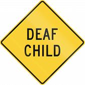 stock photo of deaf  - United States warning traffic sign - JPG
