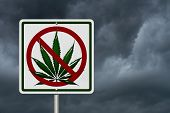 foto of marijuana leaf  - Driving Under the Influence of Marijuana A road highway sign with a marijuana leaf with stormy sky background - JPG