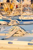 picture of sail ship  - close up of marine sailing ship knot - JPG