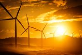stock photo of turbines  - Wind turbine power generators silhouettes at ocean coastline at sunset - JPG