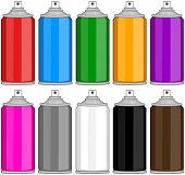 pic of spray can  - Vector illustration pack of various colored spray cans - JPG