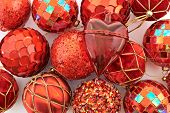 foto of glass heart  - Festive Christmas background of xmas balls - JPG