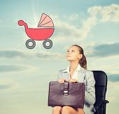 stock photo of buggy  - Business woman in skirt - JPG