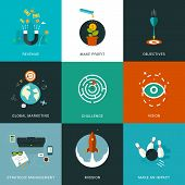 picture of objectives  - Flat designed business concepts for strategic management - JPG