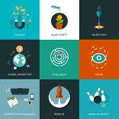foto of objectives  - Flat designed business concepts for strategic management - JPG