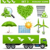 picture of solar battery  - Vector Ecology Icons Set 3 including truck - JPG