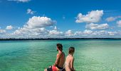 image of dock a lake  - Bacalar Lake at Riviera MAya Quinatana Roo - JPG