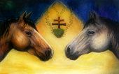 stock photo of paint horse  - Two horse heads beautiful detailed oil painting on canvas - JPG