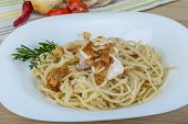 picture of carbonara  - Pasta carbonara with sauce and bacon served thyme