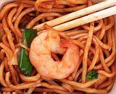 image of egg noodles  - egg noodles background with chopsticks and shrimp - JPG