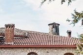 picture of chimney  - Chimney on the roof of the old church - JPG