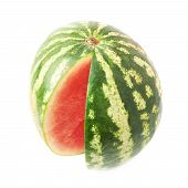 pic of watermelon slices  - Watermelon fruit with the single slice piece cut off - JPG