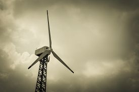 foto of wind vanes  - The wind turbine generator the renewable energy - JPG