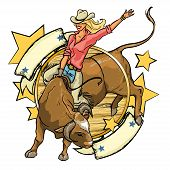 stock photo of texans  - Rodeo Cowgirl riding a bull - JPG