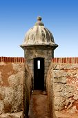 stock photo of san juan puerto rico  - watch point at el morro castle in san juan puerto rico colonial building - JPG