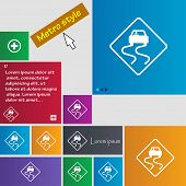 picture of slippery-roads  - Road slippery icon sign - JPG