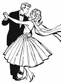 Illustration Of A Couple Dancing, Drawn With Old Comic Style