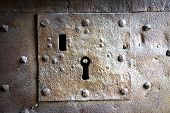 image of keyhole  - Detail of an old medieval keyhole  - JPG