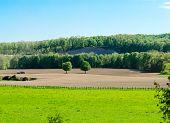 pic of pastures  - A pasture and newly planted field with woods and cliff in the background - JPG