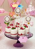 stock photo of buffet  - candy buffet with souffle in glasses and paper labels for text - JPG