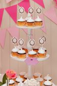 foto of buffet  - candy buffet with cupcakes with paper labels for text - JPG