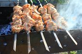 stock photo of braai  - Shashlick laying on the grill close up - JPG