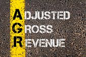picture of grossed out  - Concept image of Business Acronym AGR as Adjusted Gross Revenue written over road marking yellow paint line - JPG