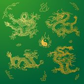 stock photo of dragon  - Vector background with asia dragons - JPG