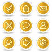 Basic Web Icons, Yellow Glossy Circle Buttons