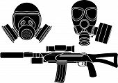 stock photo of gas mask  - sniper rifle and gas masks - JPG