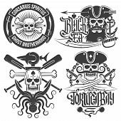 image of pirates  - A set of pirate emblems with skull - JPG