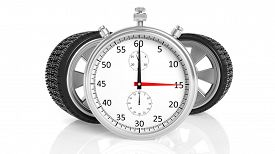 stock photo of chronometer  - Silver chronometer with aluminium alloy rims - JPG