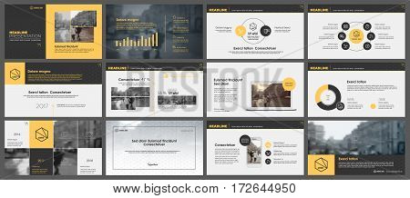 poster of Yellow and black elements for infographics on a white background. Presentation templates. Use in presentation, flyer and leaflet, corporate report, marketing, advertising, annual report, banner.