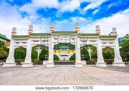 Taipei, Taiwan at the National Palace Museum gate. (Gate reads,