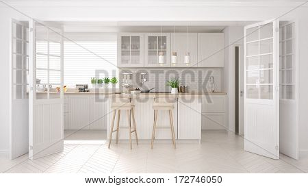 Scandinavian Classic Kitchen With Wooden