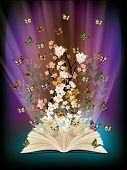 stock photo of yellow flower  - open book with butterflies flying from it - JPG