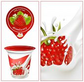 Vector illustration. Background for design of packing yoghurt with photo-realistic vector of strawbe