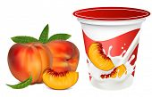 Vector illustration. Ripe  peaches falling into the milky splash. Background for design of packing y