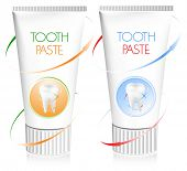 Ilustração vetorial. Pasta de dentes. Conceito dental.
