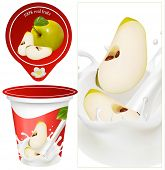 Vector illustration. Green apples falling into the milky splash. Packing yogurt.