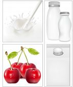 Vector illustration. Elements for design of packing milk dairy. Milky splash. Ripe cherries with water drops.