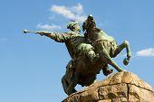 picture of bohdan  - Bogdan Khmelnitsky monument Kiev Ukraine isolated on the sky background - JPG