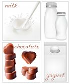Vector illustration. Elements for design of packing milk dairy. Milky splash. Chocolate.