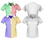 Vector illustration of women polo shirt template.