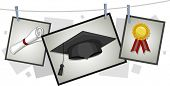 Illustration of Graduation Elements Hanging from a Clothesline
