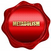 metabolism, 3D rendering, red wax stamp with text poster