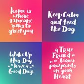 Dog Hand Written Lettering Collection. Brush Lettering Quotes About The Dog. Phrases Set About Pet. poster