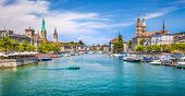 Zürich City Center With River Limmat, Switzerland poster