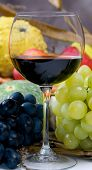 picture of wine grapes  - An inviting glass of red wine with grapes - JPG